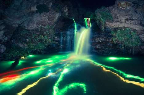 From the Lenz Media Group Captures Beautifully Lit Neon Waterfalls