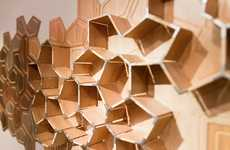 Tectonic Timber Shelves - The Wall Cracked Shelf Brings Striking Abstraction to Interior Storage