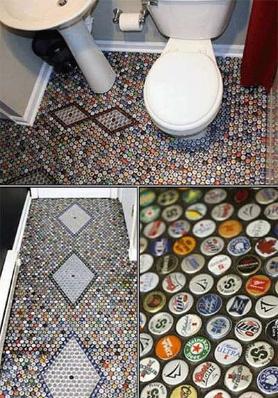 Beer Cap-Tiled Floors