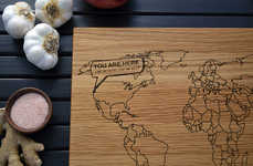 International Cooking Implements - Map Cutting Boards Encourage the Use of Cross-Cultural Flavors