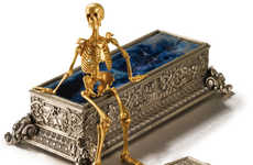 Golden Skeletal Action Figures - This Golden Skeleton Figurine is Perfect fir High-End Goth Fans