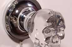Spooky Skeletal Doorknobs - An LED Crystal Skull Handle is Perfect for Inviting Demonic Guests