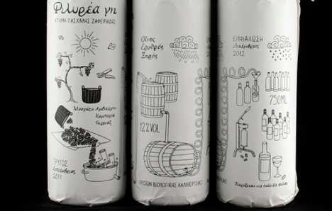 Doodled Bottle Sleeves - Filirea Gi Wine Packaging Illustrates the Process of Vino Preparation