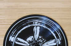 Upcycled Vinyl Record Hubcaps