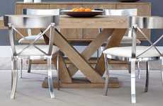 Compact Crisscrossed Furnishings - The Sunpan Madero Oak Dining Table is Great for Small Spaces