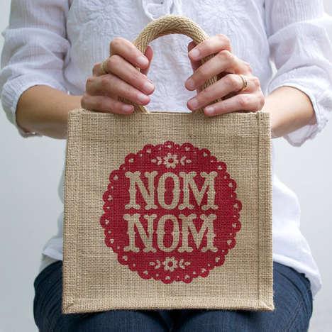 Eclectic Burlap Lunch Bags