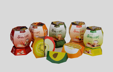 Sliceable Snack Cartons - Shake It Up Smoothie Packaging Compartmentalizes its Constituents