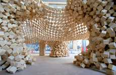 Cambering Cube Constructions - Ken Yokogawa Heads a Massive Wooden Block Design Project