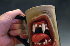 Grotesque Growling Coffee Mugs - Ron Free's Custom Coffee Cups Feature Horribly Delightful Faces