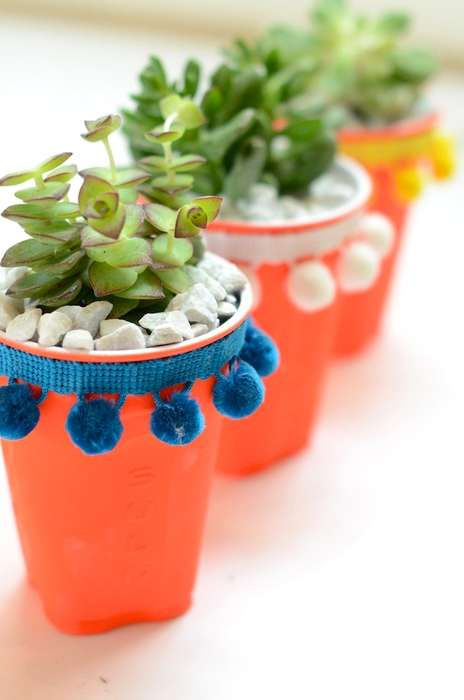 Upcycled Party Cup Planters