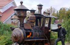 Steampunk-Inspired Train Grills - Ryazan Deulino's Homemade Barbecue is a Giant Locomotive