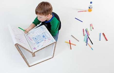 Customizable Paper Seats - Kids Can Draw Designs on the Kenno Recycled Cardboard Chair