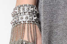 Shackled Statement Jewelry - Pack Powerful Punches with the 'Bleudame' Spike and Chain Hand Bracelet