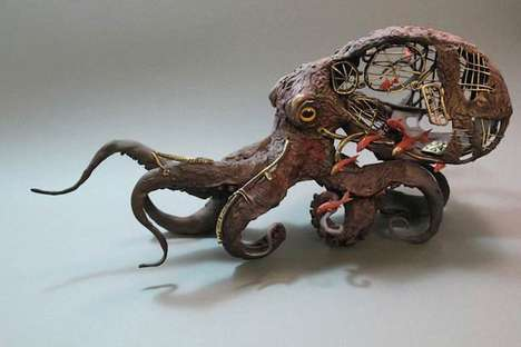 Ellen Jewett's Animal Sculptures Combine Biology and Machinery
