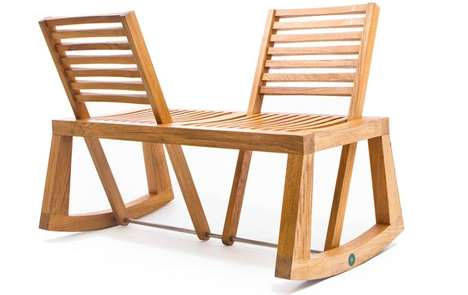 Rocking Chair Loveseats - Social People will Enjoy the Tete-a-Tete Chairs by Chloe de la Chaise