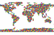 Pixelated Cartography Renderings - This Tetris World Map Print Transforms the Continents into a Game