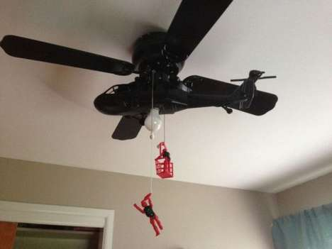 Helicopter Celing Fans - This Clever Ceiling Fan Design Depicts a Daring Helicopter Rescue