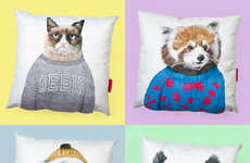 Personified Animal Cushions - These Comfy Pillows are Printed with Cute and Cuddly Critters