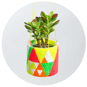 Neon Beaded Planters - The Peaches and Keen Planters Can Be Hung Inside Your Home