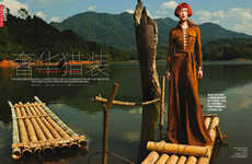 Chic Outdoor Adventure Editorials - Enter a High Fashion Safari with this Vogue China Shoot