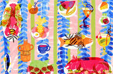 Picnic-Patterned Drawings - Camilla Perkins Astounds Viewers with Her Delectably Colorful Art
