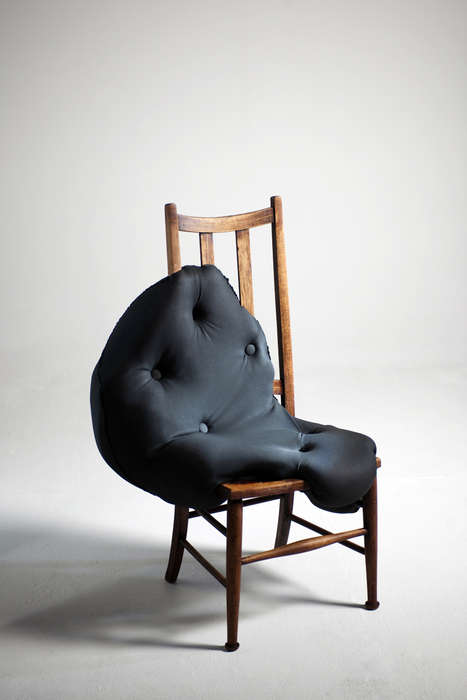 Amorphic Melting Chairs - Charlotte Kingsnorth Incorporated Dripped-On Cushioning on Vintage Frames