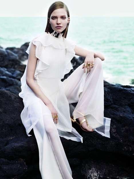 Elegantly Sultry Seaside Editorials