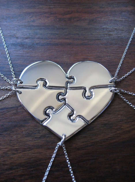 Sentimental Jigsaw Jewelry - The 'Gorjess' Heart Pendant is Miniaturized Puzzle For Your Pals