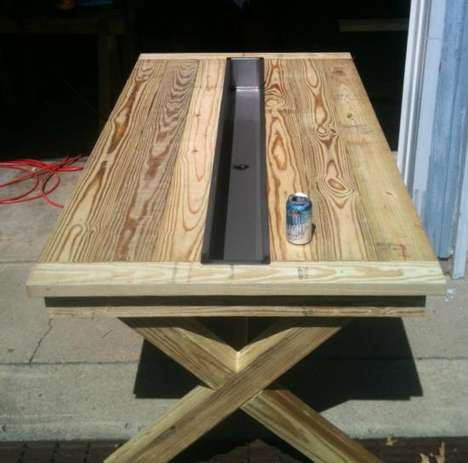 Ice Cooler Tables - This Rustic Table From Builders Showcase Has Steel Trough