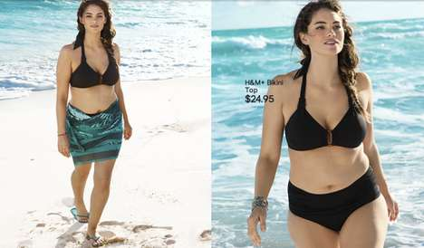 Realistic Beachwear Advertisements - Jennie Runk for H&M Puts an Average Size Girl in the Spotlight