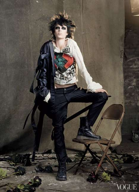 Rebelliously Eccentric Editorials - Edie Campbell Rocks Punk Apparel for Vogue in