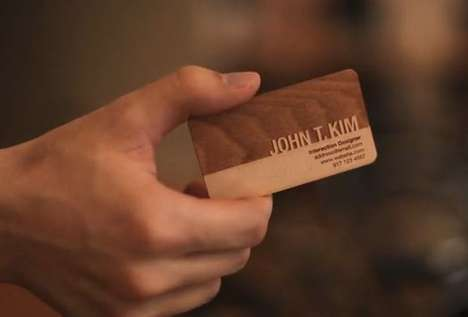Carved Wooden Business Cards