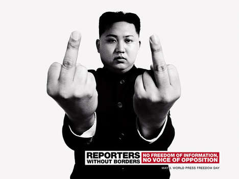 Flipping-Off Leader Ads - The Reporters Without Borders 2013 Campaign Addresses Controversial Issues