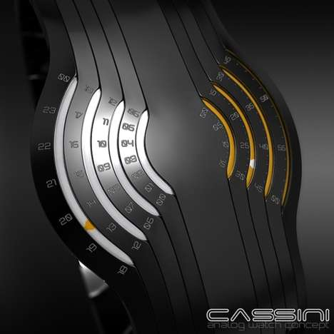 Segmented Analog Watch Faces  - The Cassini Concept Watch Tells Time with Flowing Lines