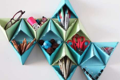 DIY Cut-Out Shelves - The Triangular Wall-Caddy by Brit+Co is Crafty and Creative