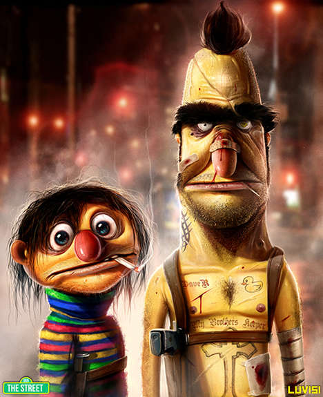 Sesame Street Characters Become Hardened Criminals in This Art