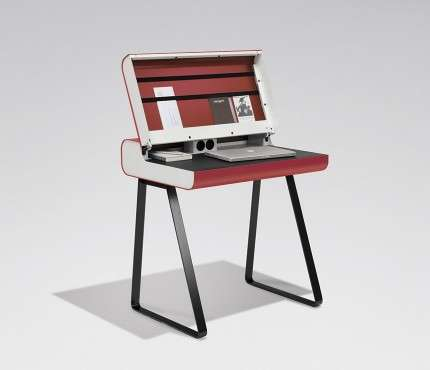 Sleek Retro School Desks - This Retro Bureau Has a Clever Hydraulic Soft Close System