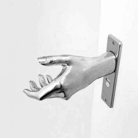 Eerie Hand-Shaped Knobs - The 'Hand-Le Aluminum Door Handle' Makes Opening a Door an Exciting Task