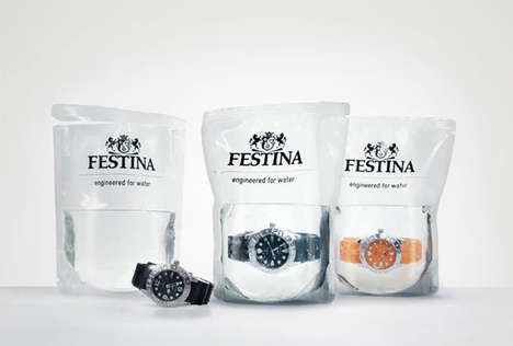 Water Packaged Watches - The Festina Profundo Diving Watches are Sold in Bags of Water