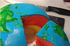 Realistic Planetary Desserts - The Earth Structural Layer Cake Was Created for a Grade School Lesson