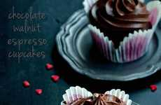 Nutty Caffeine Cupcake Creations - These Chocolate Walnut Espresso Cupcakes are Sugary Sweet