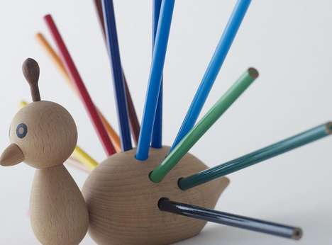 Stationary-Wearing Wooden Birds