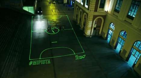 Digitally Projected Football Fields - Nike Spain Brings a Digital Sports Field to the Streets