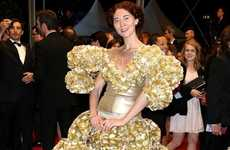 Bold Biscuit Tray Dresses - Designer Larisa Katz's Gold Biscuit Tray Dress is Shockingly Fabulous
