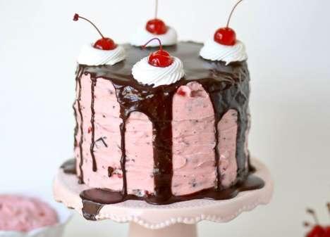 Toppling Cherry Garcia Cakes