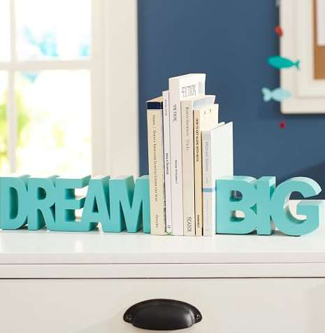 Bold Motivational Bookends - These 'Dream Big' Bookends are both Functional and Inspiring