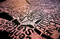 Texturized Typographic City Maps - These Maps by Mark Webber are Intricately Detailed Masterpieces