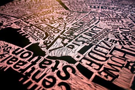 Texturized Typographic City Maps