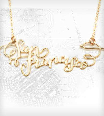 Calligraphic City Name Necklaces
