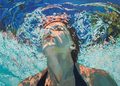 Bright Underwater Pool Paintings